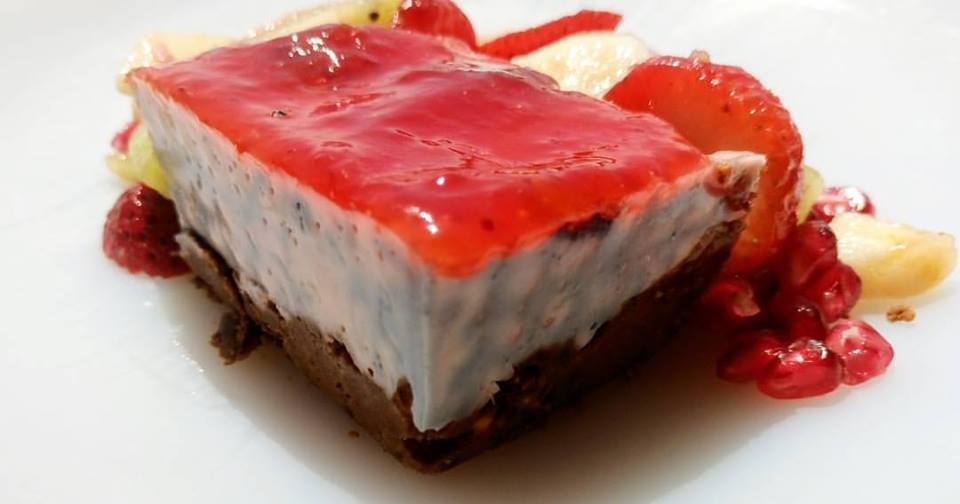 Cheesecake de granada y frambuesa