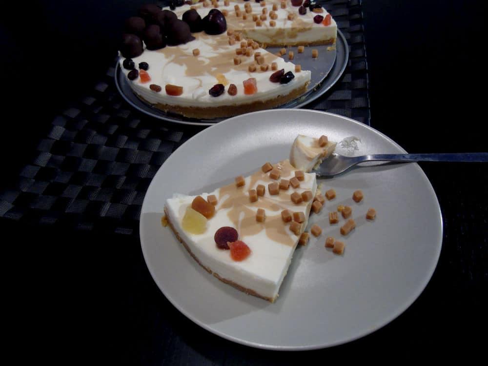 tarta cremosa en dos texturas
