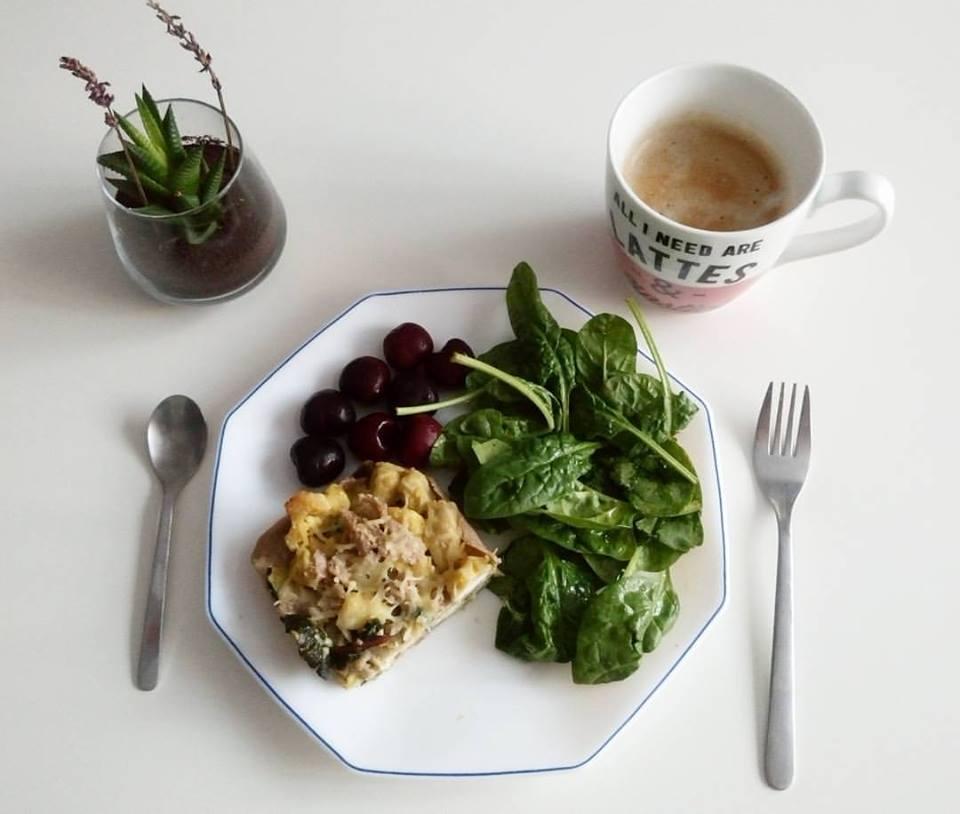 Desayuno con lasaña de trigo sarraceno sin gluten