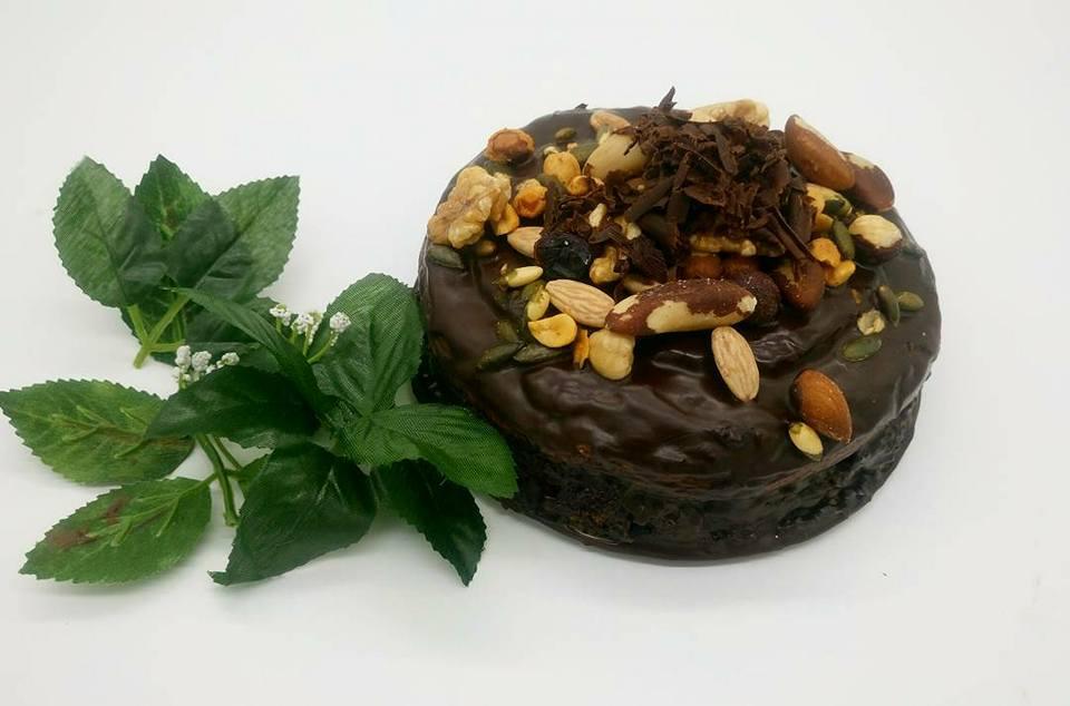 pastel de chocoplatano y frambuesa