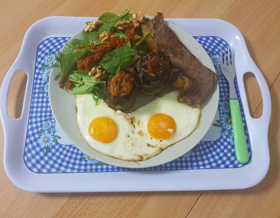 filete, huevos
