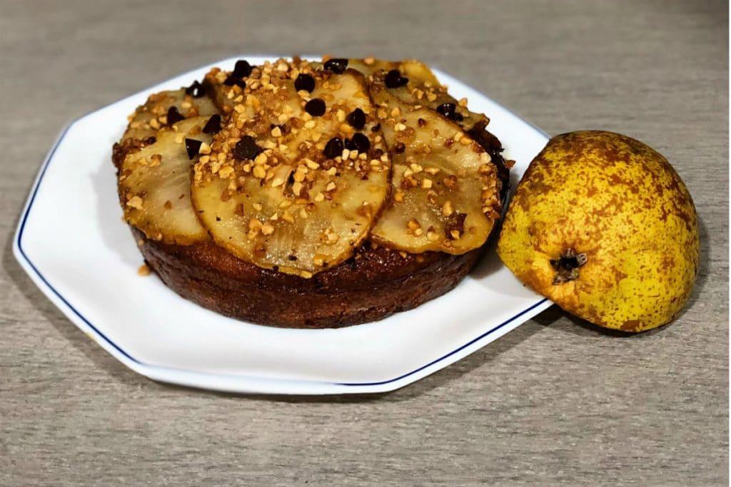 Tarta de pera sin gluten y sin azúcar refinado