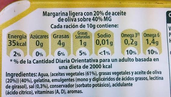 Etiquetado de los ingrediente de la margarina Flora Oliva
