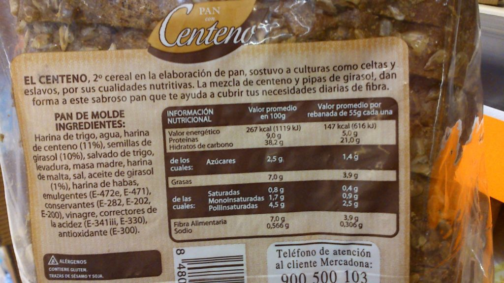 Etiquetado del pan de centeno Hacendado de Mercadona
